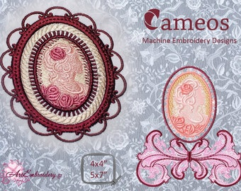 """Cameos - Set of Three Machine Embroidery Designs for direct to fabric Stitches and FSL technique  for hoop 4x4"""" and 5x7"""""""