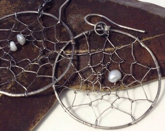 Large Sterling Silver Hoop Earrings Dream Catcher Earrings Freshwater Pearl Earrings