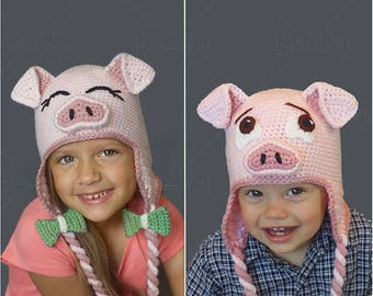 The Perfect Crochet Pig Hat Pattern (PDF FILE)