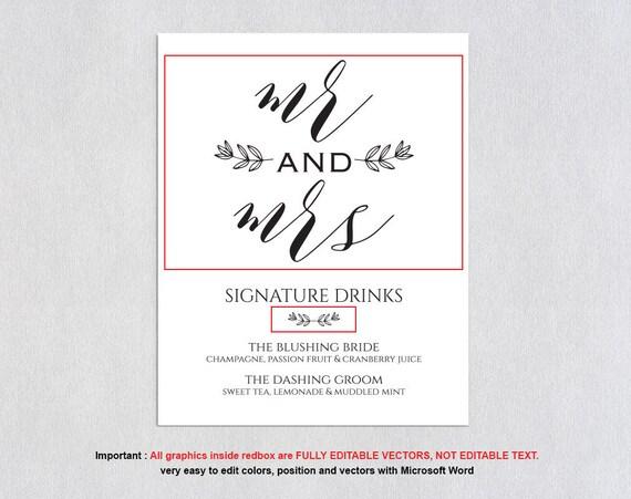 Signature Drink Sign Bar Menu Template Signature Cocktail