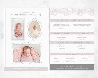 Photography Pricing Guide - Price List Template - Photoshop Template - Instant Download - 5x7 Price List - Photographer Marketing