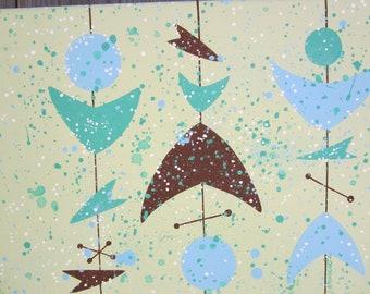 Atomic boomerangs midcentury modern abstract painting
