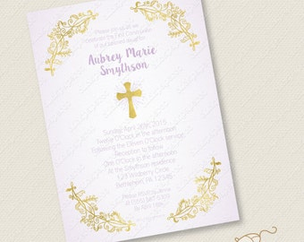 Purple and Gold Baptism Invitation custom invite Printable Christening First Communion Confirmation Holy Cross foil effect digital jpeg pdf