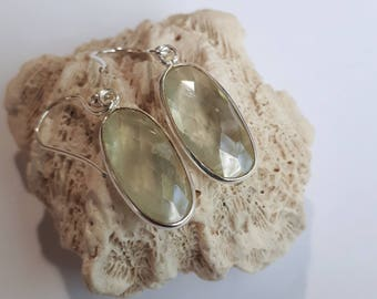 Silver prehnite gemstone earrings, sterling 92.5, free shipping