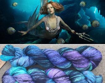 Sparkling Mermaid, speckled merino nylon sock yarn with silver stellina