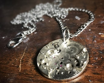 Watch Movement Piece Steampunk Pendant Necklace