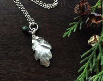 Sterling silver oak leaf necklace, silver oak leaf pendant