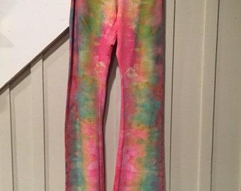 Adult/Teen SMALL size fold over yoga pants, iced dyed yoga pants