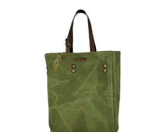 Large tote bag from recycled military canvas, large canvas bag, canvas tote bag, tote bag with leather straps