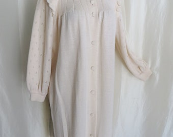 70s vintage womens sweater coat dress, off white knit, warm wool, granny sweater coat, Mothers Day gift