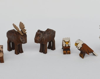 Hand Carved Wooden Noah's Ark Animals, Wooden Animals Otters, Moose, Eagles and Caribou, Hand Carved