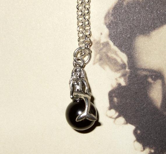 Mermaid Necklace, Black Pearl, Nautical Jewelry, Black Pearl Mermaid, Sea Necklace, Mermaid Pendant, Little Silver Mermaid, Sitting Mermaid