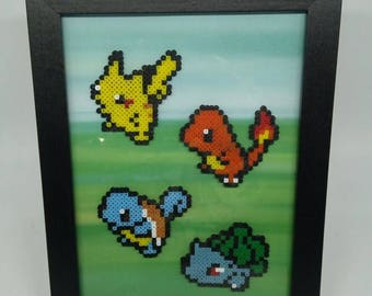Handmade Pokemon Inspired Framed Picture, Pikachu, Charmander, Squirtle, Bulbasaur