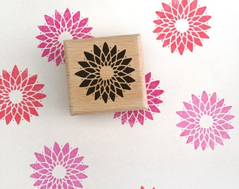 Crysanthemum Flower Rubber Stamp
