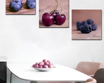 Dining room wall art, food canvas art set, berry cherry fruit photography, country farmhouse kitchen decor, rustic kitchen wall art set