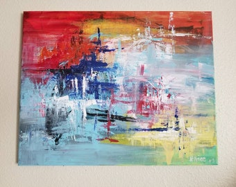 Colorful abstract painting on canvas 16x20 Red, blue, orange