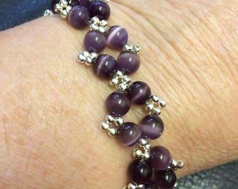 Purple Cats Eye Bracelet