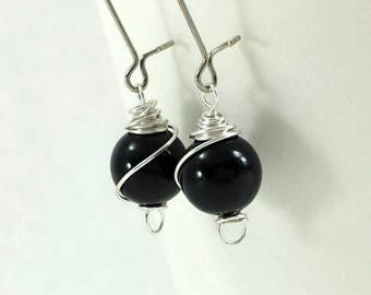 Black Swarovski Pearl Earrings on Silver Kidney Wires