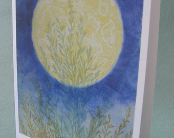 5 x 7 Notecard - A015 HARVEST MOON // moon card / full moon / moon art / moon print / astrology art / blue / nature card / nature art