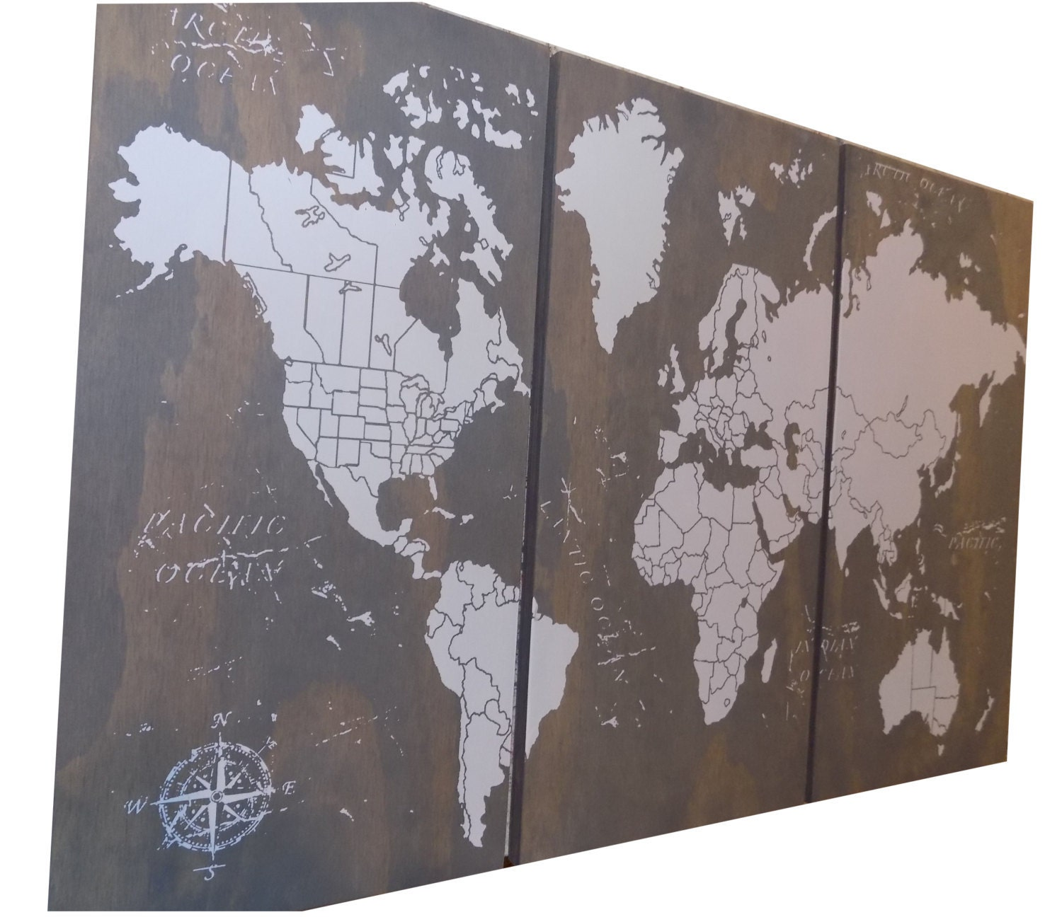 🔎zoom. extra large world push pin travel map with us borders '