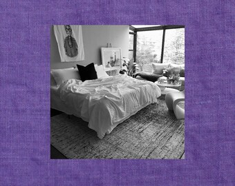 Amethyst Purple Linen Coverlet - Modern Bedding - Made to Order in the USA