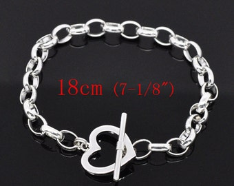 "Heart Toggle Bracelet - 7""  - 18cm - Silver Plated - Ships IMMEDIATELY from California - CH440"