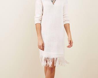 Fringe dress in Cream