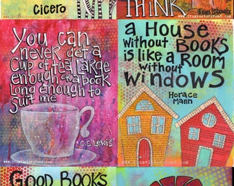 Set of six book quote prints