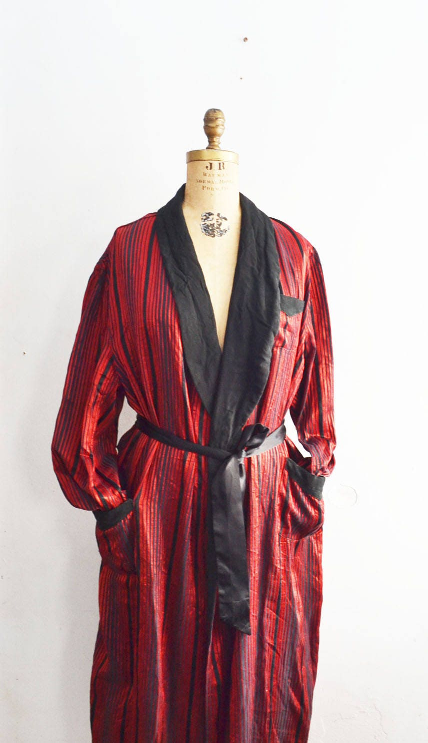 50s smoking jacket mens red robe Made by Mejestic