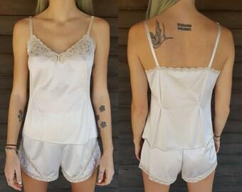 Vintage Lingerie Set - Best Form - 2 Piece Sleepwear Set - PJ Set - Pajamas - Lace - Lingerie Top and Bottom