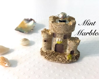 Miniature Sandcastle Necklace. Summer. Silver Chain. Under 35. Resin Pendants. Mermaid Castle. Shells Beach. Under the Sea. Nautical. Ocean.