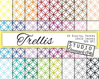 Trellis Digital Paper Value Pack - 24 Colors - Commercial Use - 12in x 12in 300 dpi jpg - Instant Download