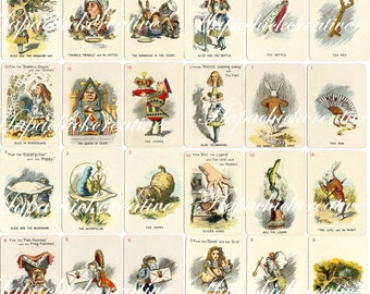 Printable  Alice in Wonderland  Playing Cards  - Set of 24 Digital Download Vintage Tenniel Color Illustrations Decor  Scrapbook
