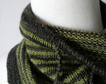 Grey Reef Cowl Prototype - Hand Knit in Ultrasoft Mulesing-free 100% Superwash Merino Wool. Grey Green Striped Cowl with Drawstring