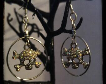 Sparkly Skull and cross bones charm earrings