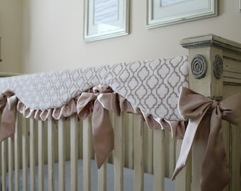 Ivory Embossed Vine and Biscuite Gold Trellis Reversible Rail Guard Cover, Champagne Gold Satin Ruffle and Ties - Crib Bedding, Bumperless
