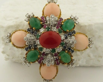 "Vintage Circa 1970 18 kt Gold Coral, Emerald, Ruby & Sapphire 2 1/4"" x 2 1/4"" Brooch."