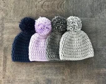 Pom Pom Crochet Newborn Hat *Select your color*