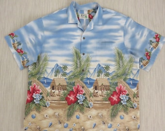 Mens Hawaiian Shirt KY'S Vintage Tropical Print Hut Outrigger Canoe Aloha Surfer Shirt 100% Cotton Camp - 2XL - Oahu Lew's Shirt Shack