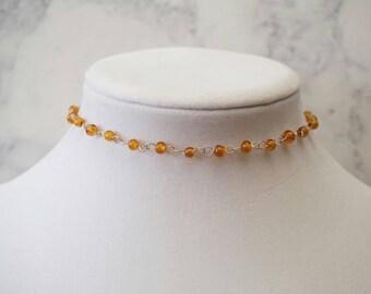 Topaz Beaded Choker Necklace