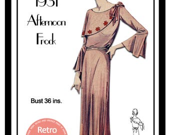 1930s Afternooon Frock Sewing Pattern -  Paper Sewing Pattern