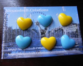 6 embellishments 16 mm x 13 resin blue and yellow hearts
