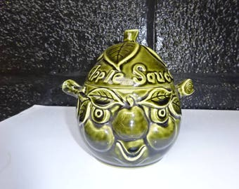 Sadler England Apple Sauce Face Pot/Green/Face Pot/Storage Pot/Kitchen Decor/Collectable/Vintage/1960s
