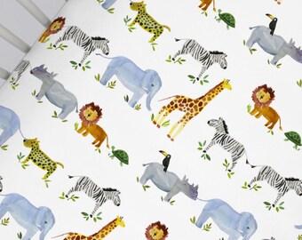 Organic Jungle Animals CRIB FITTED SHEET - Safari Animals Crib Sheet - Zoo Animals Crib Fitted Sheet - Boy Nursery Bedding - Made To Order