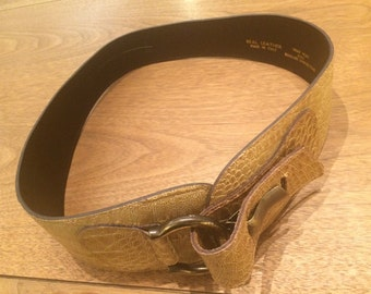 Yellow Leather Waist Belt