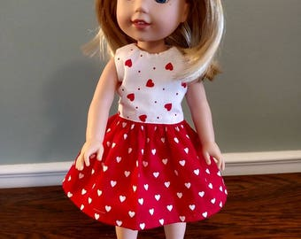 Cute little red heart dress for Wellie Wisher Size Doll.  W606