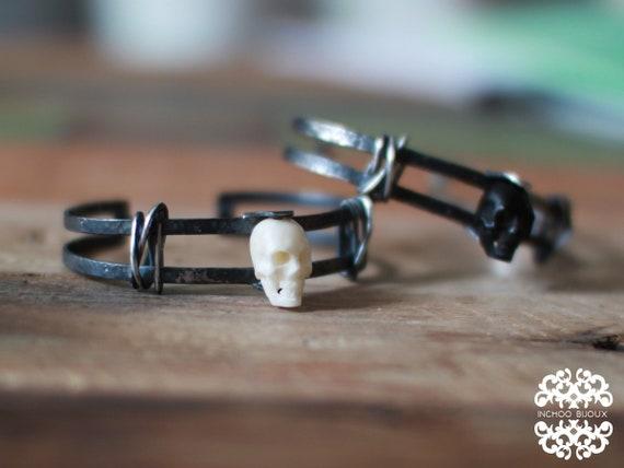White Bone Skull Hand Carved Mens Bracelet, Rocker Cuff, Tribal Boyfriend Gift, Pirate, Goth, Metal, Biker, Punk, Charm Bracelet, Witchy