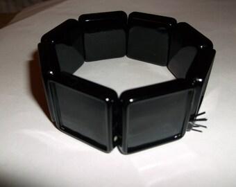 Blank Plastic Stretch Square Bezel Bracelets - Black