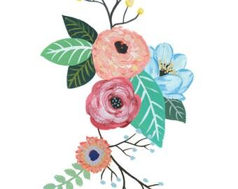 Gouache Flowers Watercolor Painting, Art Print, decor, nature, floral, print 5 x 7 inches