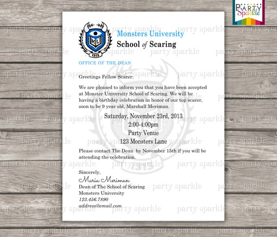 Printable monster university acceptance letter invitation stopboris Image collections